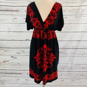 Cristinalove red and black silky dress